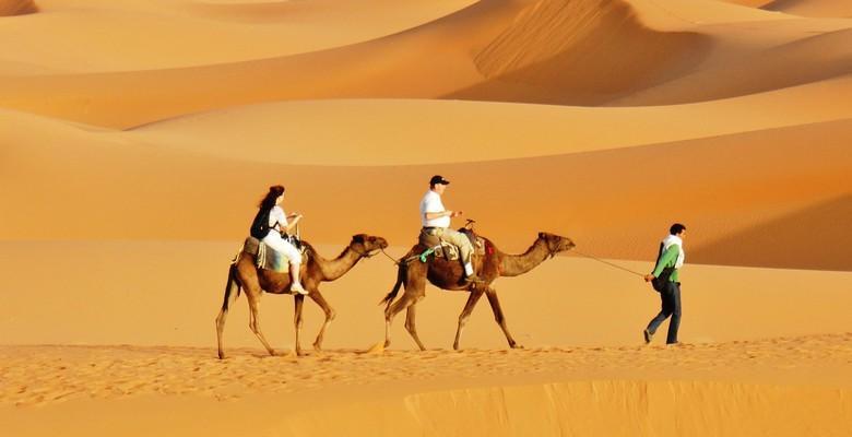 Camel riding in Erg Chebbi dunes